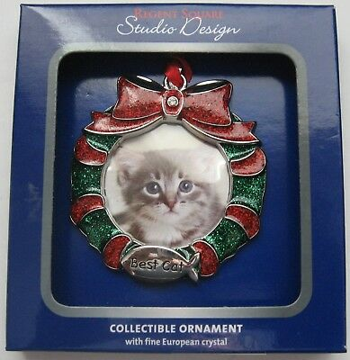 Regent Square Best Cat Photo Frame Christmas Wreath Ornament New