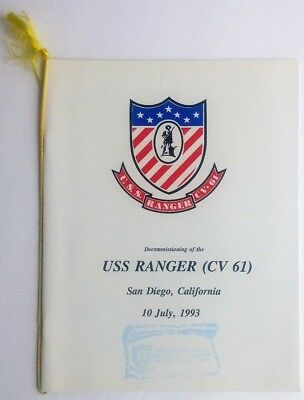 1993 Us Navy Decommissioning Uss Ranger Cv 61 Aircraft Carrier 40 Page Program