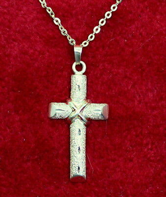 "NICE 14K Gold Diamond Cut & Textured Religious Cross Pendant & 16"" 14K Chain"
