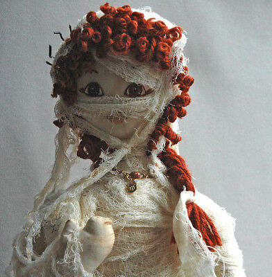 SALE - OOAK Cloth and Wood Mummy Art Doll and Cloth Mummy Cat, Halloween Decor