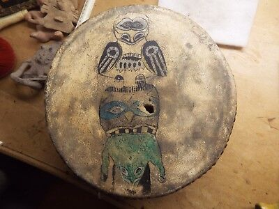 VERY RARE Antique Native American INUIT ESKIMO  Painted/ fetish Hide Drum 1800s