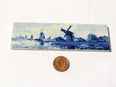 1907 Royal Delft Tile Windmill & Boat Scene SIGNED Narrow Handpainted *