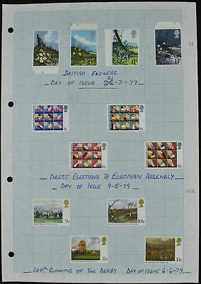 GB 1979 QEII Commemoratives Mint/MH Album Page Of Stamps #V7313