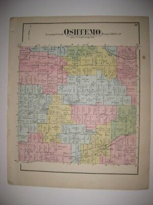 Antique 1873 Oshtemo Township Kalamazoo County Michigan Handcolored Map Rare Nr