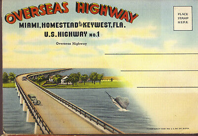 Overseas Highway Miami to Key West Florida US HWY No. 1 fold-out postcard
