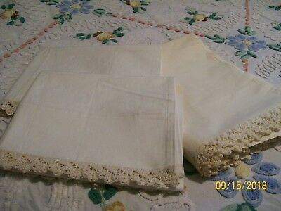 Vintage PERCALE Full Size Top Sheet with PILLOWCASE PAIR Crocheted Edge on All