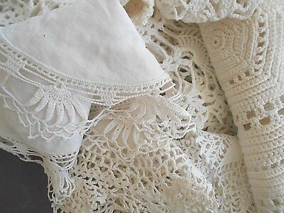 Lot of 9 Vintage Hand Made Crocheted Doilies White Lace Very Good Used Condition