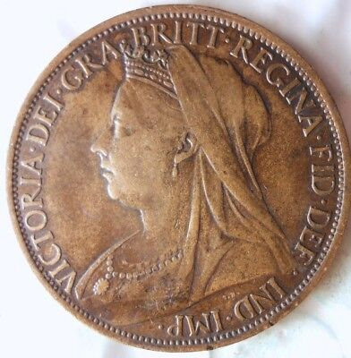 1897 GREAT BRITAIN PENNY - Excellent Quality - High Value Coin - Lot #112
