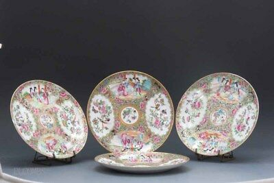 19th.c Chinese Rose Medallion Set Of 4 Plates, Figural, Flowers & Bird Decore #2