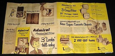 Peter Pan 1953 Disney Admiraltelevision Fold-Out Cartoon Character Advertisement