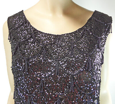 Sequin Tank Top M British Crown Colony Hong Kong Wool Beaded Tassels 1950s Lined