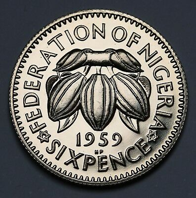 1959 Nigeria Sixpence Proof Coin KM #4  6031 Minted Rare FDC Beauty