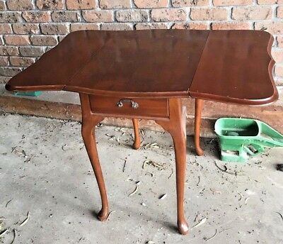 Lovely Little Mid Century Drop Side Scalloped Edge Table & Drawer