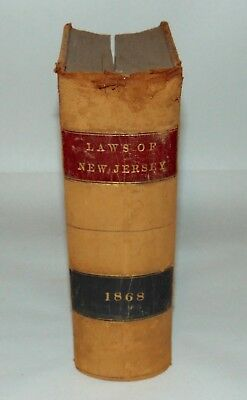 ANTIQUE Book 1868 STATE OF NEW JERSEY LAWS 92nd Legislature LEATHER