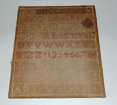 ANTIQUE PRIMITIVE C1830 NEW YORK American Schoolgirl JANE FALCONER Sampler