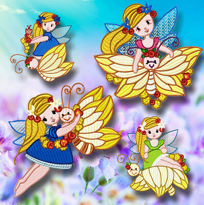 Butterfly Fairy 10 Machine Embroidery Designs Cd 3 Sizes Included