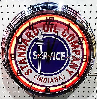 """17"""" STANDARD OIL CO Indiana Sign Single Neon Clock Gas Gasoline Station Lube"""