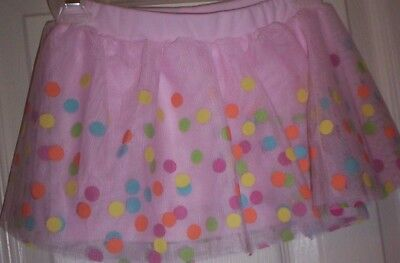 Nwot~Girls-Disney~Pink 2-Layer Polka Dot Netting Elastic Waist Tutu Skort  2T