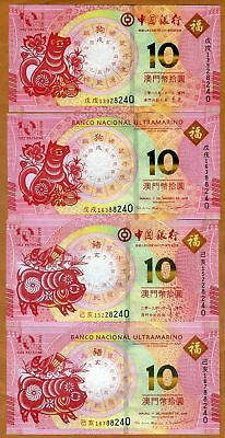 Macao / Macau, 4 note set, 2018 and 2019 P-New, Chinese Lunar UNC > Dog, Pig