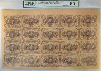 5 Cent 1st Issue Fractional Currency FR-1230 Uncut Sheet PMG AU-55