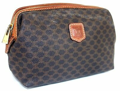 fbb9215c9dfc Auth CELINE MACADAM PVC Canvas Brown Leather Clutch Pouch Cosmetics Bag  Italy