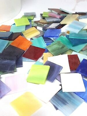 Mosaic Glass Tiles, 3mm Stained Glass random mix, square 25x25mm - 200 grams