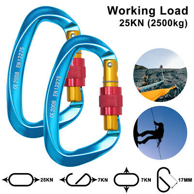 2PCS Carabiner Clip Hook Heavy Duty 25KN D-Ring Screw Lock Outdoor Rock Climbing