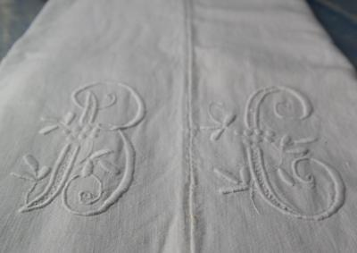 """FRENCH ANTIQUE HOMESPUN HAND LOOMED MONOGRAM DOWRY SHEET ORNATE B.C 114x69"""" #A54"""