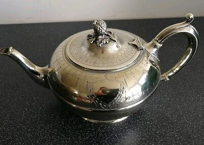 Elegant Antique Silver Plated Finely Decorated Teapot by Atkin Bros