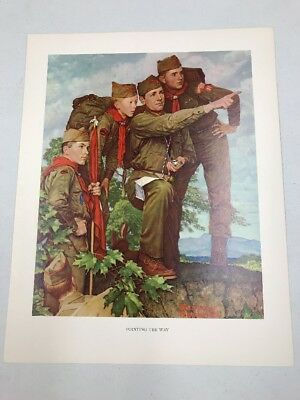 Vtg Norman Rockwell Boy Scout Print Through The Eyes Of Pointing The Way