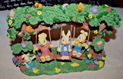 Estate= Resin, Easter or Bunny Decor,  Three Rabbits Bunnies on Swing, Adorable