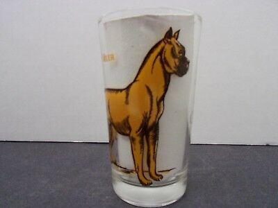 Vintage Peanut butter glass  ( BOXER )  / HISTORY on the back dog tumbler
