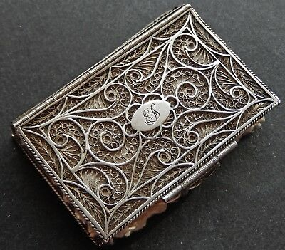 Rare Antique Ottoman Islamic Solid Silver Filigree Needle Case c1890