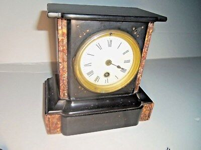 1700'S antique mantel small 10 pounds black green marble  clock French 7 ¾ tall