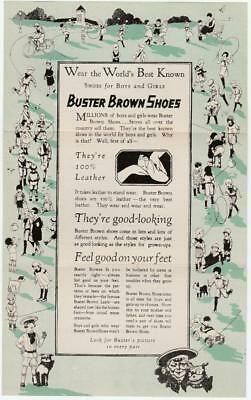 Early 1900's Buster Brown Shoes Tri-Fold Advertising Brochure Very Nice Graphics