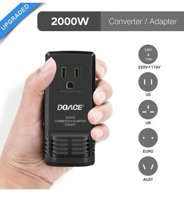 Upgraded DOACE C8 Mini Transformer 2000W Worldwide Travel Converter Adapter US