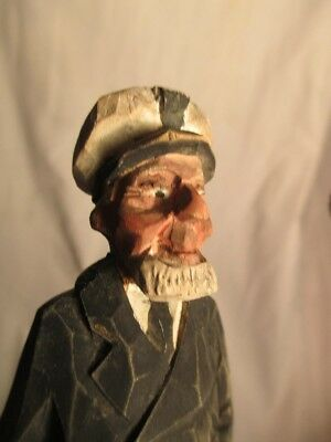 Vintage Early Hannah Wood Carved Sea Captain figure Canada Folk Art