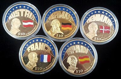 Liberia Lot of 5 Different Gold Plated 2000 10 Dollar Encapsulated ECU Coins