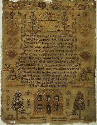 Early 19Th Century House, Motif & Prayer Sampler By Mary Ann Genge - 1827