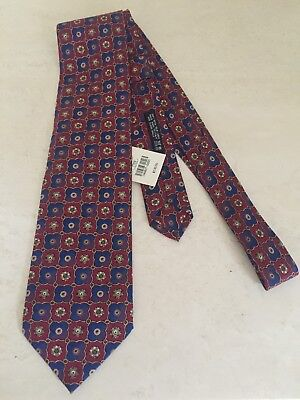 BRIONI 100% SILK MEN'S NECK TIE NEW NWT BLUE/RED  ITALY Retail $130