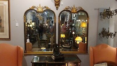 FRIEDMAN BROTHERS Napoleon III style Black and Gold Gilt Mirrors PAIR