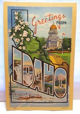 """1940 Large Letter Postcard  """" Greetings From Idaho  """"  W/ Sites  Unused"""
