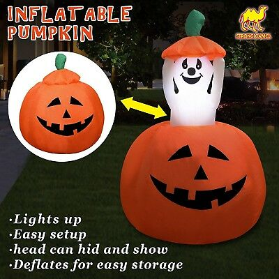 Strong Camel 4ft Animated Halloween Inflatable Pumpkin and Ghost Yard Garden...