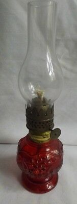 MINIATURE OIL LAMP CHERRY COLORED IMPERIAL GLASS EMBOSSED w GRAPES
