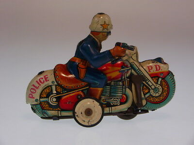 "GSMOTO ""MOTORCYCLE POLICE"" 1960s, 11/12cm, FRICTION NOT OK, BESPIELT/USED !"