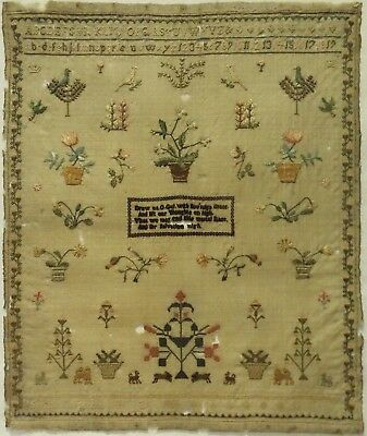 Early 19Th Century Motif, Verse & Alphabet Sampler By Sarah Carpenter - 1805
