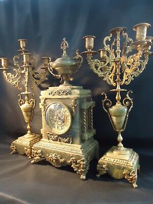 Antique 19th C French Onyx,Marble,Gilt Clock Set. Spares Or Repair