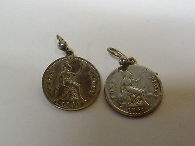 Unusual Antique Pair Of Victorian Silver 4d Pence Maundy Coin Earrings - 1840 /
