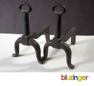 Miniature Cast Iron Fireplace Andirons Antique Salesman's Sample