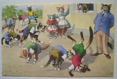 Alfred Mainzer Dressed Cats Play Leap Frog Vintage Postcard #4878; Belgium; Mint